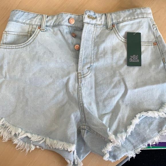 Light Wash High Rise Jean Shorts